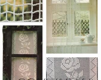 Crochet Curtain Pattern, Crochet Window Covering, Home Decor, PDF Instant Download