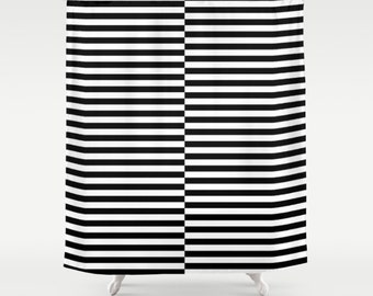 36 colours, Offset Stripe Pattern Shower Curtain, Nordic shower curtain, Black, White stripes shower curtains, Striped bath decor