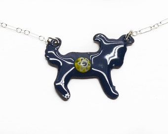 Blue Black Vitreous Enamel Pup Necklace  RAWF Benefit