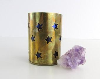 Starry Night Brass Candle Holder - Vintage Cobalt and Brass Tealight Home Decor