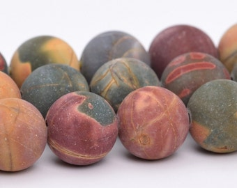 "6MM Matte Picasso Jasper Natural Gemstone Full Strand Round Loose Beads 15"" BULK LOT 1,3,5,10 and 50 (101085-315)"