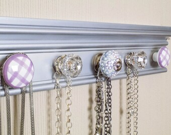 YOU CHOOSE  5, 7 or 9 KNOBS  This metallic silver Jewelry organizer features lavendar accents. great closet jewelry storage necklace hanger
