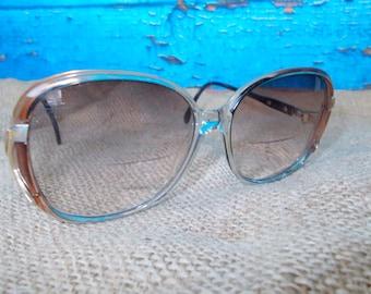 Vintage 80's Ladies Sunglasses Eyeglasses Frames, Prescription Sunglasses, Vintage Eyeglasses with Large Rounded Shape Tan Plastic, Retro