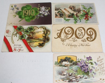 5 Antique New Years Eve Postcards 1909 and 1910