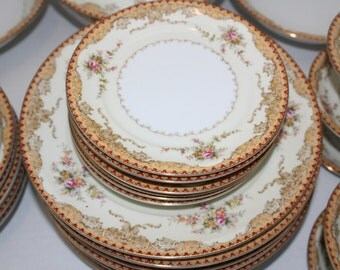 55 Pc Vintage Meito China Dinnerware Set Derby Pattern 1930s