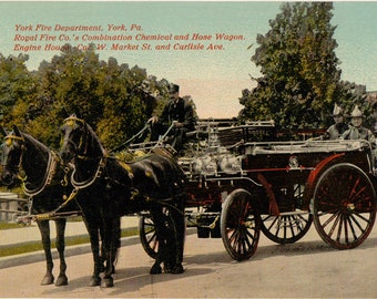 Vintage Postcard, York, Pennsylvania, York Fire Department, Chemical and Hose Wagon, 1911