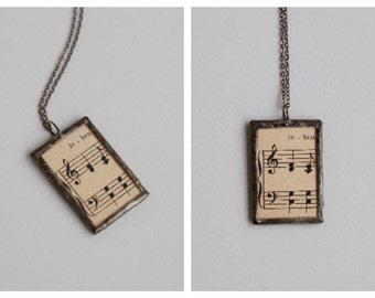Music Sheet Pendant, Soldered Pendant, Glass Pendant