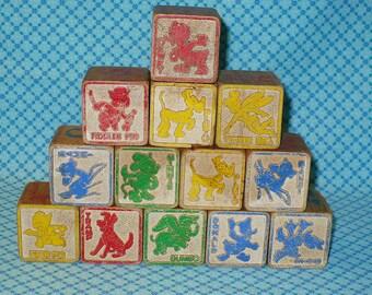 Disney Wooden Blocks-Disney Vintage Blocks-Disney 40's 50's Wood Block Toys-13 Disney Building Blocks