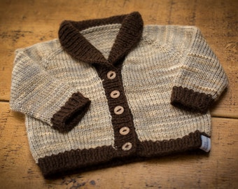 Hand Knit Shawl Collar Baby Cardigan - Pearl/Chocolate - 0-6 months - Merino Wool, handmade baby clothes