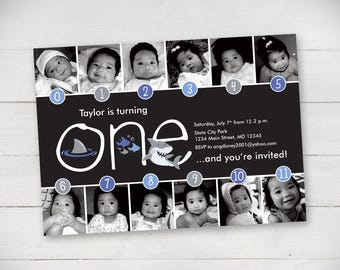 Shark Timeline First Birthday Invitation