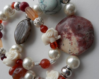 Mixed stones pearls,turquoise,Jasper Stretch DUO Bracelet with Elephant beads