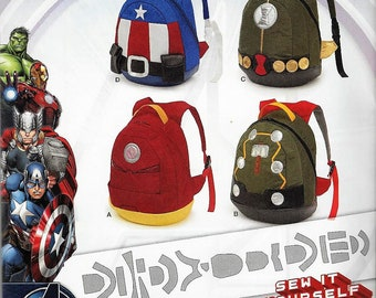 New Simplicity Pattern #8108 Avengers Assemble BackpacksUncut Factory Folded