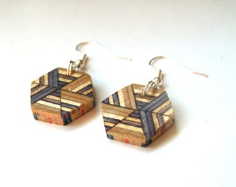 Wooden Earrings - Recycled Skateboard Dangle Earrings - Hexagon Wood Earrings
