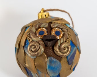 Ezra - Polymer Clay Owl Ornament