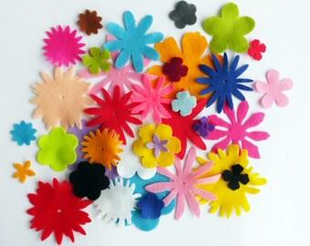 Felt Shapes, felt flower shapes, MIxed felt flowers, Die Cut Shapes, Applique, Party Supply, Fet supplies