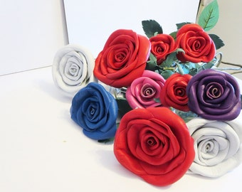 3rd Anniversary Gift -Leather rose- Wedding gift - Long Stem Flower- Valentines Day