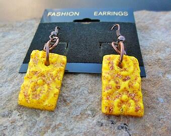 Yellow, Rectangle Earrings, Geometric Earrings, Dangle Earrings, Handmade Earrings, Handmade Jewelry, Polymer Clay Jewelry, Unique Jewelry