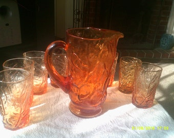 Krinkle Glass Pitcher and Glasses