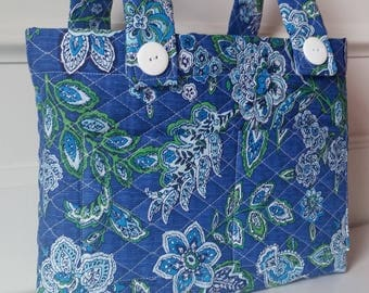 Walker Bag, Blue, Green, and White floral print, Quilted, walker purse, gift, grandmother, mom, tote, mobility bag