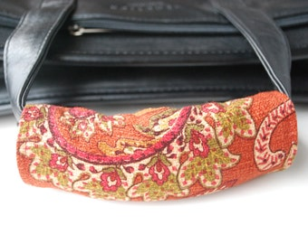 Luggage Handle Wrap Set of 2,Red brown paisley patterned