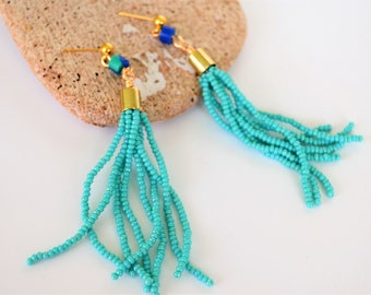 Turquoise Tassel Earrings, Seed Beads and Imitation Malachite, Long and Dangly, Gold Plated Earstud or Clip On Available, Gift Boxed