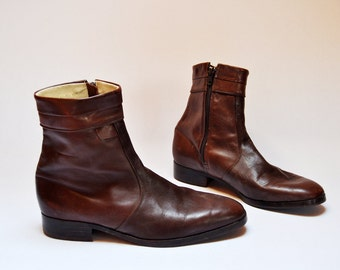 Vintage Mens Ankle Boots Brown Leather Beatle Boots