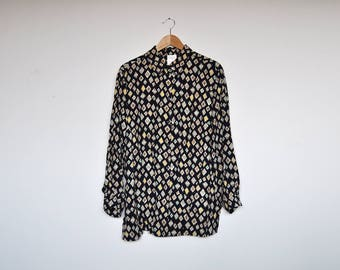 Vintage Oversized Psychedelic Collared Blouse Geo Abstract Print Button Up Shirt