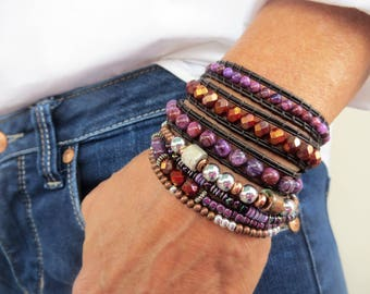 Wrap Boho Bracelet-Wrap Bracelet-Leather Wrap Bracelet-Beaded Wrap Bracelet-Leather Bracelet-Beaded Bracelet-Agate Bracelets For Women