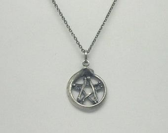 Mouse Bone and Snake Rib Pentagram Pendant - Silver