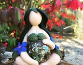 Fertility Goddess Figurine with an energy generator belly ((MADE TO ORDER)) Pregnancy decor, baby shower gift, doula, midwife, Limited