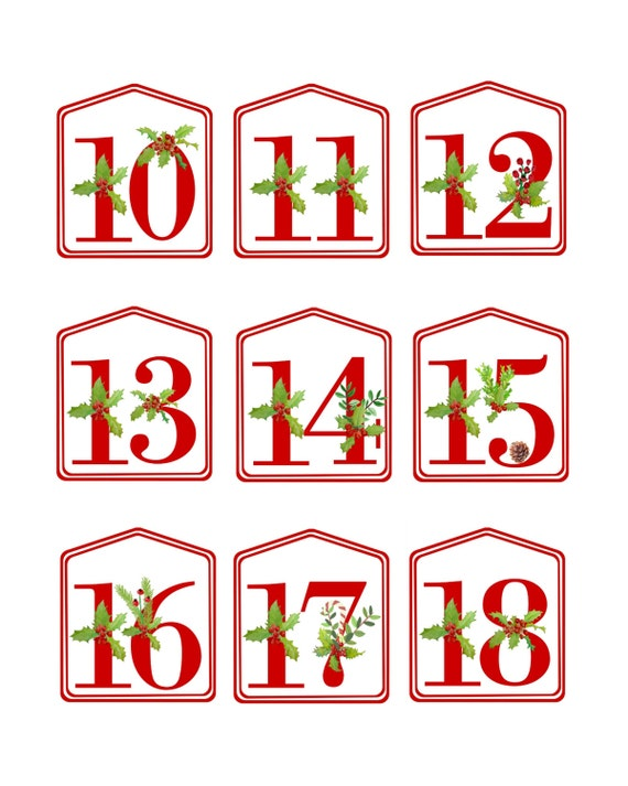 Calendar Numbers Clipart : Christmas advent calendar printable numbers