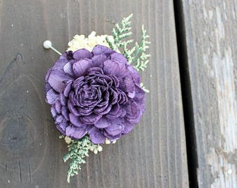 Mother of the Bride Corsage- Sola Flowers, Wood Flowers, Wedding Flowers, Mother of the Groom, Rustic, Boho, Purple, Boutonniere Buttonhole