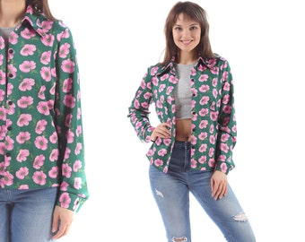 POPPY Shirt 70s Floral Blouse Button Up Pointed Collar Retro Top Vintage Bold Pink Flowers Green Long Sleeve Vacation Shirt  Women Medium