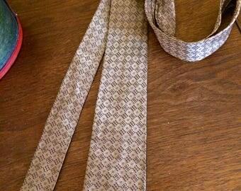 Vintage Beige Brown Thin Skinny Necktie 1940 1960