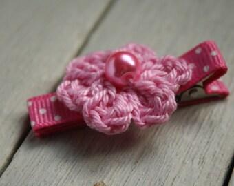 Nougat Pink Flower Alligator Hair Clip, Crochet flower, Non-Slip Grip linings