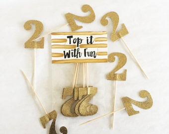 Two Topper, Two birthday, second birthday, 2, 2nd birthday, second anniversary, two party, cupcake topper, topper, two birthday party, two