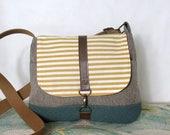 San Fransisco- Crossbody messenger bag // Vegan purse // Travel bag // Adjustable strap // Yellow // Stripes // Nautical // Ready to ship
