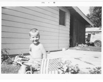 Patriotic Boy American Flag vintage original snapshot old photo vernacular photograph miniature portrait album page