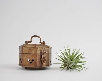 Vintage Brass Trinket Box - Octagon Brass Cricket Box - Mid Century India Brass Storage Box