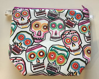 Sugar Skulls Wedge Zippered Pouch Project Bag In Stock, Ready to Ship