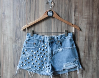 Studded Levi Denim Shorts, Vintage Distressed High Waist Cut Off
