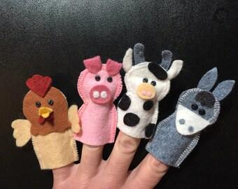 Farm animal finger puppets