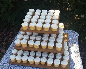 Rustic Cupcake Stand, Tree Cupcake Stand, Log Slice Cupcake Stand, Rustic Wedding, Wood Cupcake Stand, Cake Stand, Square Cupcake Stand