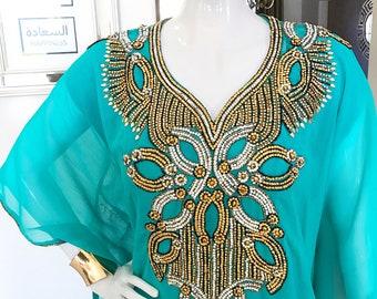 Aqua Embellished Sheer Caftan
