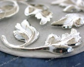 Bright Sterling Silver Plated Brass Leaf Stampings Vintage Style Silver Leaves Hat Making Wedding Hair Craft Collage Made in the USA STA-270