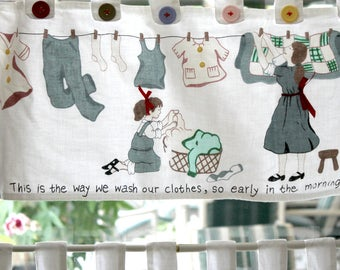 vintage laundry room curtain, retro laundry room, cottage decor, farmhouse decor