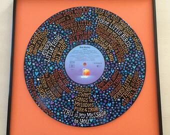 Bob Marley Three Little Birds Lyrics Handpainted on Vinyl Record