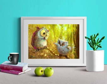 Owl Wall Art / Nursery Decor / Baby Shower Gift / Art Print / Room Decor / Desk Art