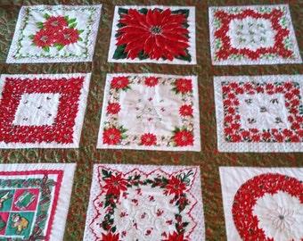 Fabulous Vintage Christmas Hankies Quilt by Grannies Hankies