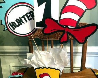 Cat in the Hat Dr. Suess Inspired Birthday Centerpiece or Photo Props